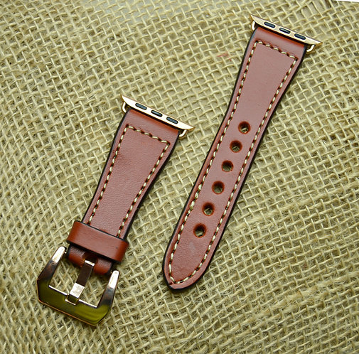 Leather watch band- English Bridle leather, Chestnut withTaupe thread