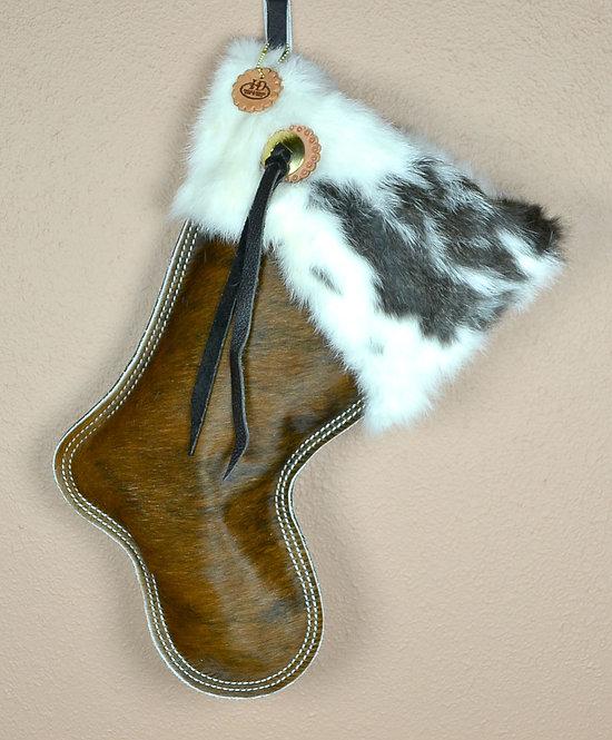 Cowhide Christmas Stocking, Redish/ Brown Brindle