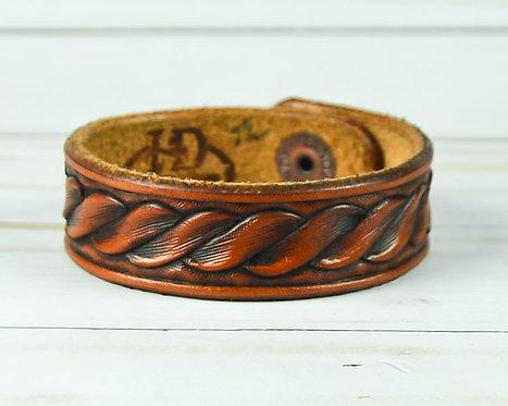 """3/4"""" Bracelet, Hand carved rope design"""