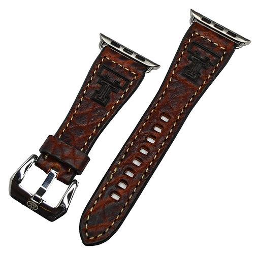 Leather Watchband- Genuine Buffalo with TX Tech logo