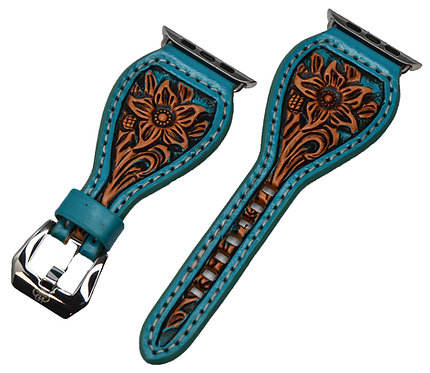 Leather watch band, floral design_Turquoise