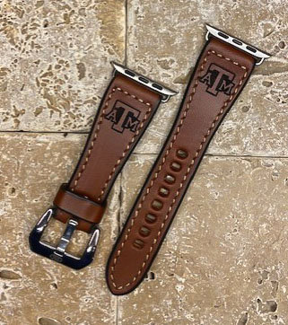 Leather Watchband- English Bridle leather, Med.Brown with Tx A&M logo