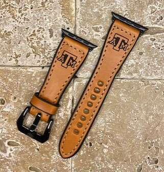 Leather Watchband- English Bridle leather, Tan with Tx A&M logo