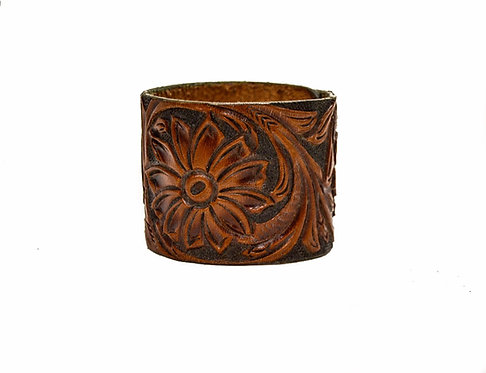 "2"""" Cuff, Hand carved and dyed"