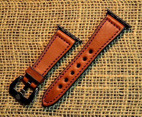 Leather watch band- English Bridle leather, Chestnut with Red thread