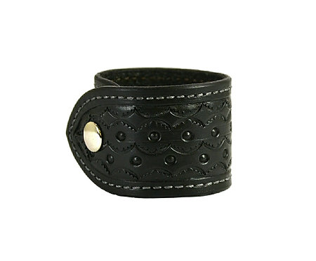 """2"""" Saddle stitched cuff. Available in black or brown"""
