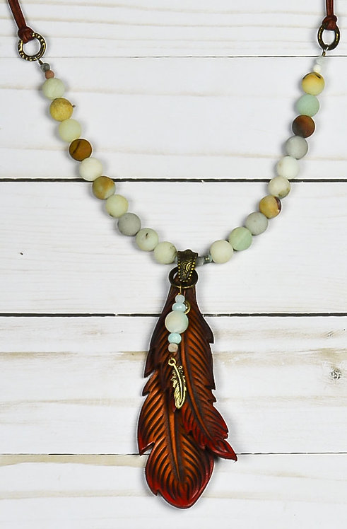 Double Feather with Amazonite (matte finish)