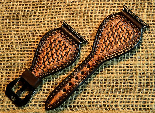 Leather watchband_Basket stamped.