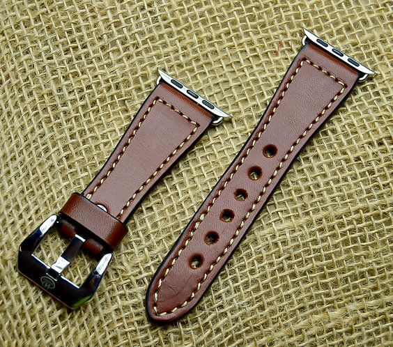 Leather watch band- English Bridle leather, Med.Brown with Taupe thre