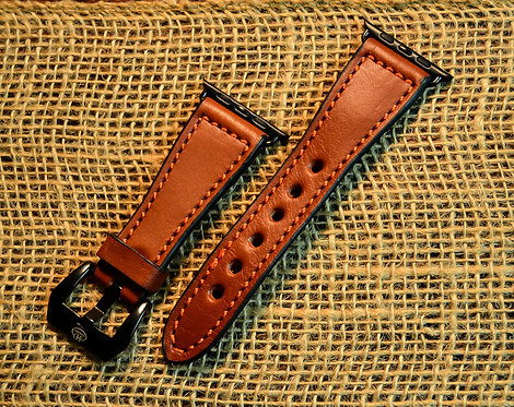 Leather watch band- English Bridle leather, Chestnut with Orange thread