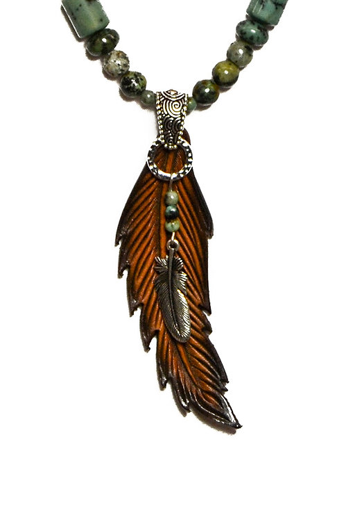 Single Feather with natural African Turq.