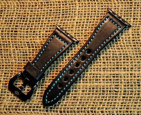 Leather watch band- English Bridle leather, Black with Turquoise t