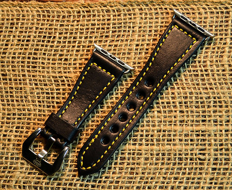 Leather watch band- English Bridle leather, Black with Yellow t