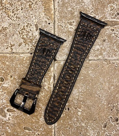 Leather Watchband- Genuine Shark with TX A&M logo