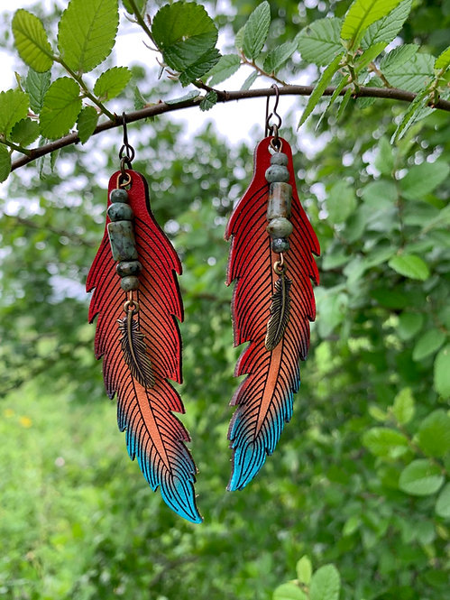 Leather Feather Earring - LGRT