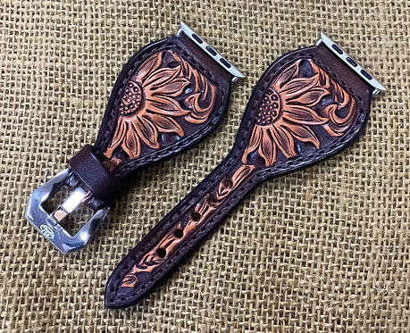 Leather Watchband_Carved Sunflower_brown