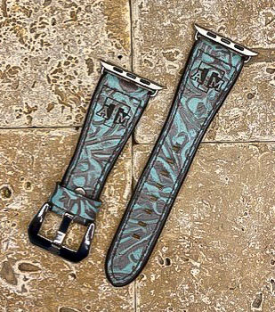 Leather Watchband- Turquoise floral print with TX A&M logo