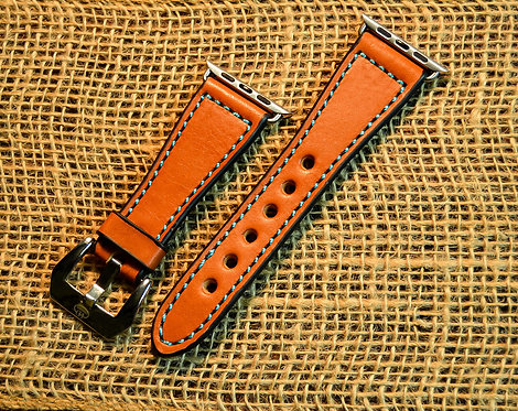 Leather watch band- English Bridle leather, Tan with Turquoise thr
