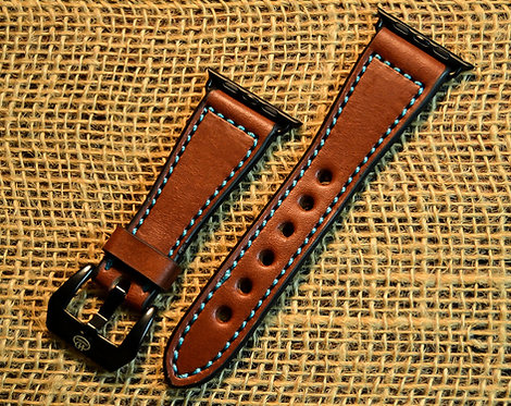 Leather watch band- English Bridle leather, Med.Brown with Turquoise thre
