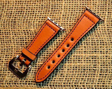 Leather watch band- English Bridle leather, Tan with Red thr