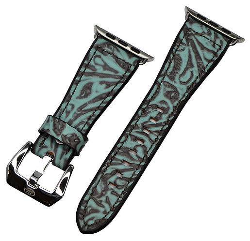 Leather watch band, Turquoise floral print,
