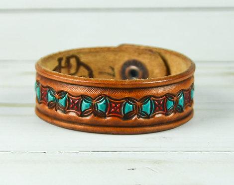 "3/4"" Bracelet, Butterfly pattern, Turquoise_Red"