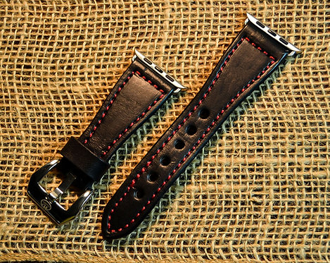 Leather watch band- English Bridle leather, Black with Red t