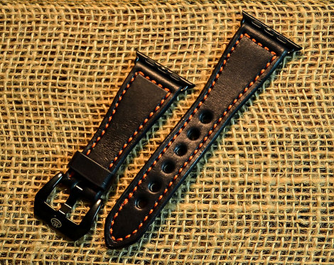 Leather watch band- English Bridle leather, Black with Orange t