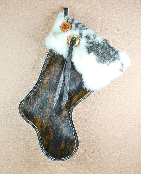 Cowhide Christmas Stocking, Dark Brindle