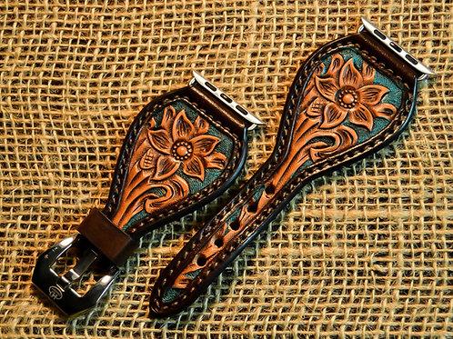 Leather Watchband, Carved Floral_TQBG
