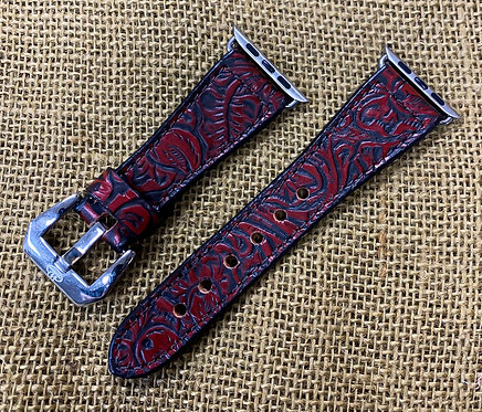 Leather Watch Band_ Antique Red, Floral print