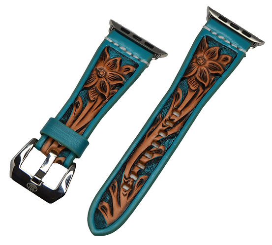 Leather Watchband- Hand Carved Floral design