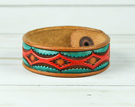 "3/4"" Bracelet, Aztec pattern, Red_Turquoise"