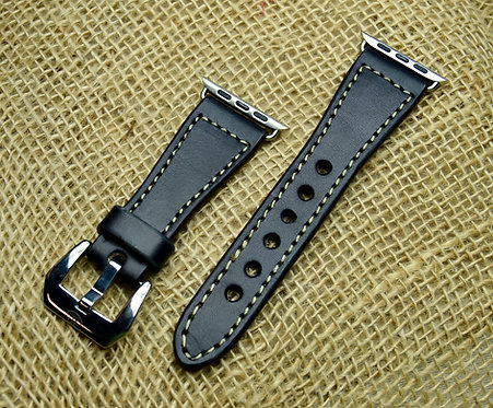 Leather watch band- English Bridle leather, Black with Taupe t