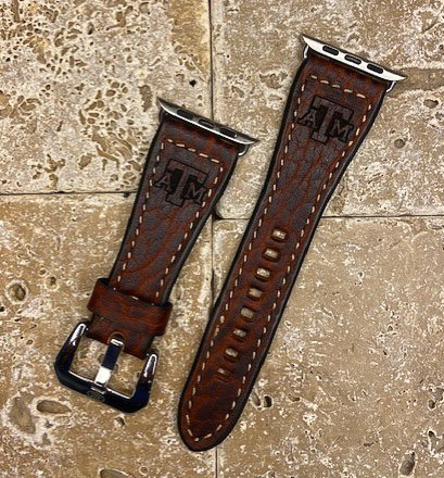 Leather Watchband- Genuine Buffalo with TX A&M logo