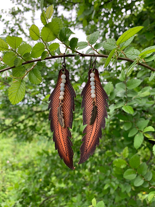Leather Feather Earring - LGBR