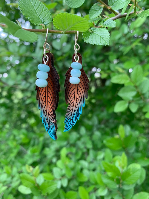 Small leather feather earrings