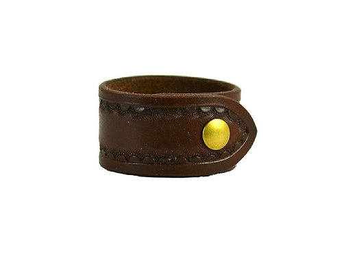 """1.5"""", Border tooled cuff. Available in black or brown"""