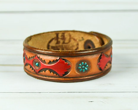 "3/4"" Bracelet, Flower pattern, Red_Turquoise"