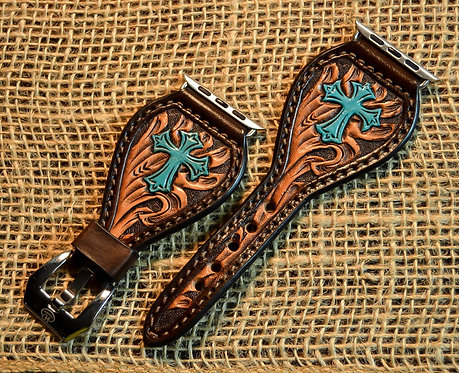 Leather Watch Band_Cross design_Brown_TQ Cross
