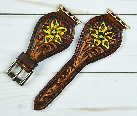 Leather Watchband_Carved flower_brown/yellow