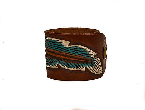 "2"" Feather cuff, Turquoise/white"