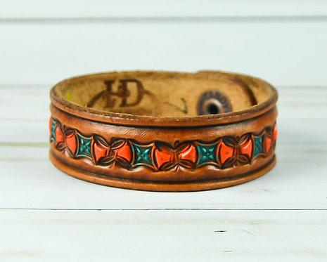 """3/4"""" Bracelet, Butterfly pattern, Orange_Turquoise"""
