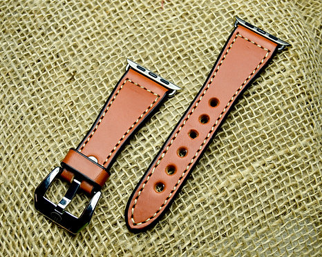Leather watch band- English Bridle leather, Tan with Taupe thr