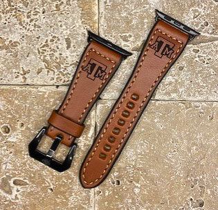 Leather Watchband- English Bridle leather, Chestnut with Tx A&M logo