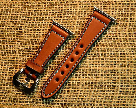 Leather watch band- English Bridle leather, Chestnut with Turquoise thread