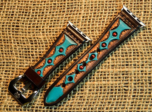 Leather Watchband- Hand stamped and painted Diamond pattern