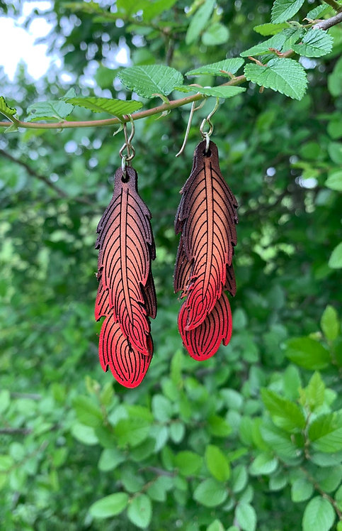 Double Leather Feather Earrings - DBFTR/RD