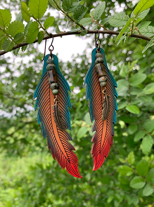 Leather Feather Earrings - LGTR