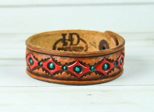 "3/4"" Bracelet, Diamond pattern, Red_Turquoise"